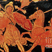 Amazon Warrior Woman Fights Greek Poster