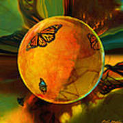 Ambered Butterfly Orb Poster by Robin Moline