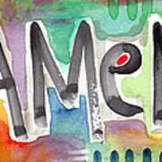 Amen- Colorful Word Art Painting Poster by Linda Woods