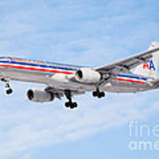Amercian Airlines Boeing 757 Airplane Landing Poster