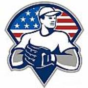 American Baseball Pitcher Gloves Retro Poster