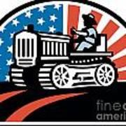 American Farmer Riding Vintage Tractor Poster by Aloysius Patrimonio