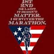 American Female Marathon Runner Retro Poster Poster by Aloysius Patrimonio