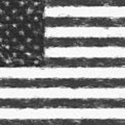 American Flag Charcoal Poster