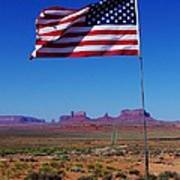 American Flag In Monument Valley Poster