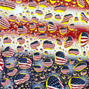 American Flag In Water Drops Poster