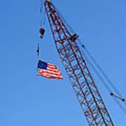 American Flag On Construction Crane Poster
