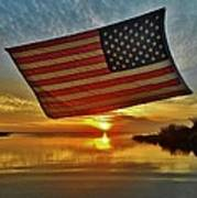 American Flag Sunset 14 2/18 Poster