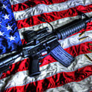 American Flag With Rifle Poster by Geoffrey Coelho