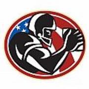 American Football Wide Receiver Ball Poster by Aloysius Patrimonio