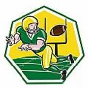 American Football Wide Receiver Catching Ball Cartoon Poster by Aloysius Patrimonio
