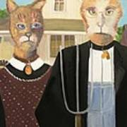 American Gothic Cat Poster