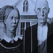 American Gothic In Cyan Poster