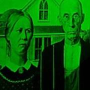 American Gothic In Green Poster