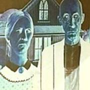 American Gothic In Negative Poster