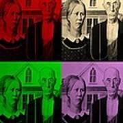 American Gothic In Quad Colors Poster