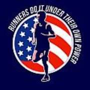 American Marathon Runner Running Power Retro Poster