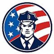 American Policeman Security Guard Retro Poster