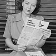 American Woman Reads A Government Poster