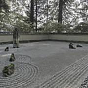 American Zen Rock And Raked Gravel Garden - Portland Oregon Poster
