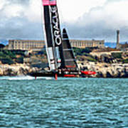 America's Cup And Alcatraz Poster