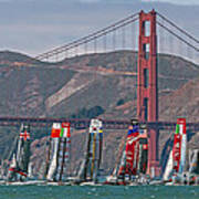 Americas Cup Catamarans At The Golden Gate Poster