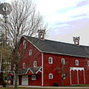 Amish Barn And Wind Mill - Allen County Indiana Poster