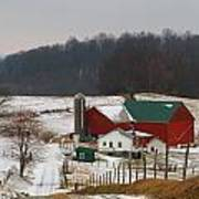 Amish Barn In Winter Poster by Dan Sproul