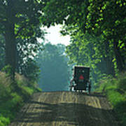 Amish  Buggy Gravel Road Poster