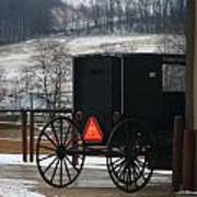 Amish Buggy In Winter Poster