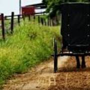 Amish Buggy On Dirt Road Poster