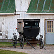 Amish Buggy White Barn Poster