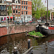 Amstel River Waterfront In Amsterdam Poster
