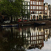 Amsterdam Canal Houses In The Rain Poster