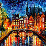 Amsterdam-canal - Palette Knife Oil Painting On Canvas By Leonid Afremov Poster