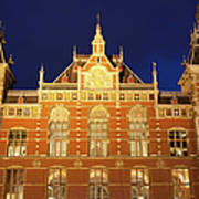 Amsterdam Central Train Station At Night Poster