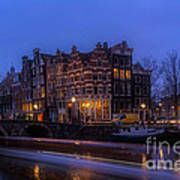 Amsterdam Corner Cafe With Light Trails Poster