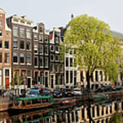 Amsterdam Houses Along The Singel Canal Poster