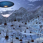 An Alien Reptoid Being Signaling Poster by Mark Stevenson