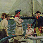 An American Privateer Taking A British Prize, Illustration From Pennsylvanias Defiance Poster