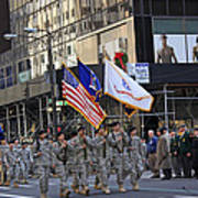 An Army Outfit Marching In The 2009 New York St. Patrick Day Parade Poster