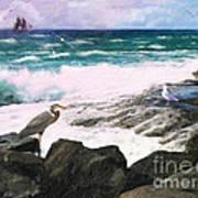 An Egret's View Seascape Poster