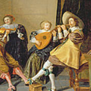 An Elegant Company Playing Music In An Poster by Dirck Hals