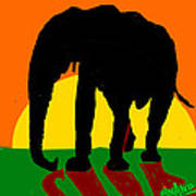 An Elephant And Sun Poster
