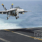 An Fa-18f Super Hornet Prepares To Land Poster
