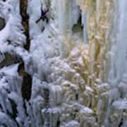 An Ice Climber Ascends A Frozen Poster