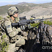 An Infantryman Provides Overwatch Poster