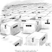 An Office  Full Of Locked Boxes With Eyes Looking Poster