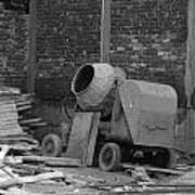 An Old Cement Mixer And Construction Material Poster