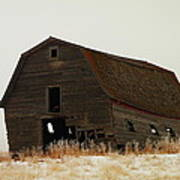 An Old Leaning Barn In North Dakota Poster by Jeff Swan